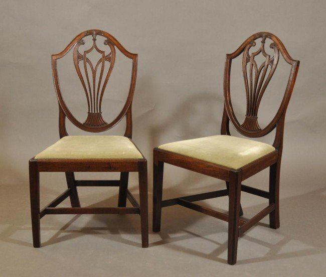 11: Pair of Hepplewhite sheild back side chairs with pi