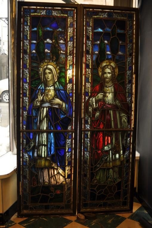 12: Pair of late 19th Century Cathedral leaded glass wi