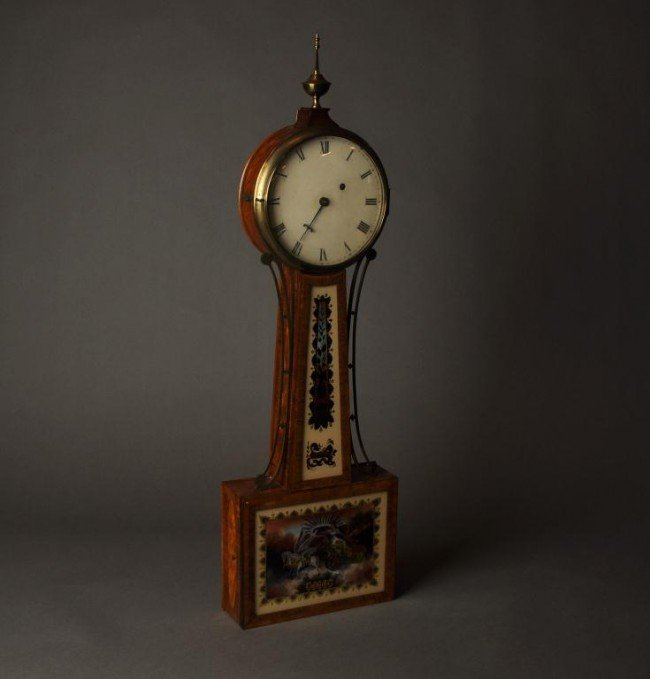 14: Custom fancy inlaid patent style Banjo Clock attrib