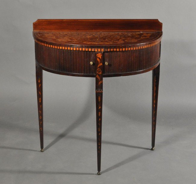 24: 18th Century Dutch demilune table with tambor front