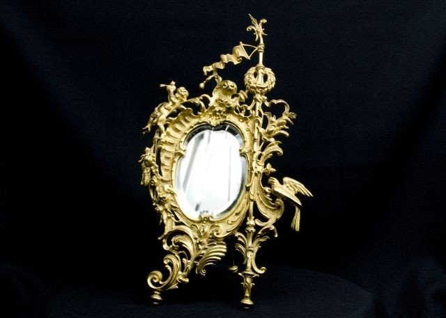 276: Late 19th C. French Dore Rococo Dressing Mirror