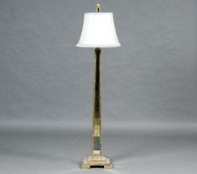 279: Fine Silver Gilt and Mirrored Floor Lamp,