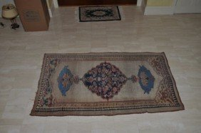 Tribal Camel Hair Bordered Kurdish Rug