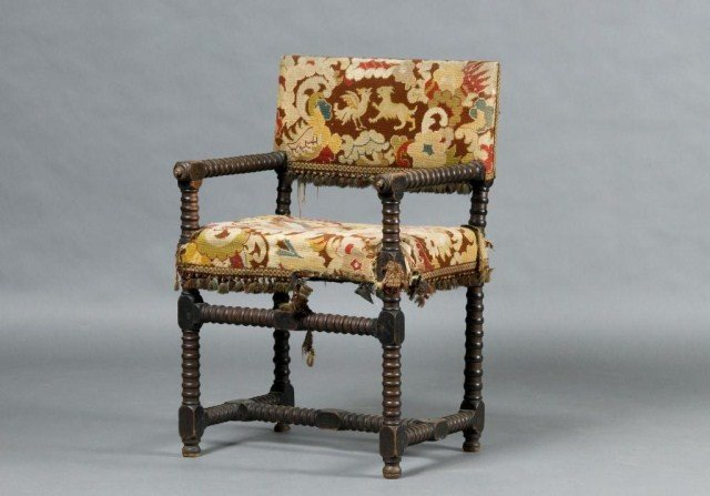 5: Cromwellian open armchair with spool turnings
