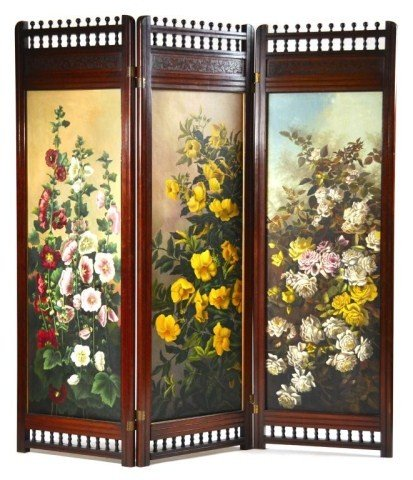 9: Victorian three part folding cherry room divider