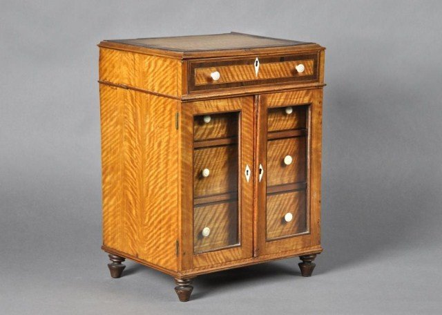 15: 19th century satinwood sewing cabinet