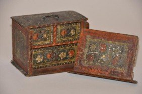 Small Continental 19th C. Decorated Dresser Box