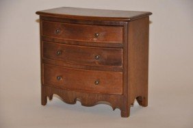 Miniature Federal Style Mahogany Bow Front Chest,