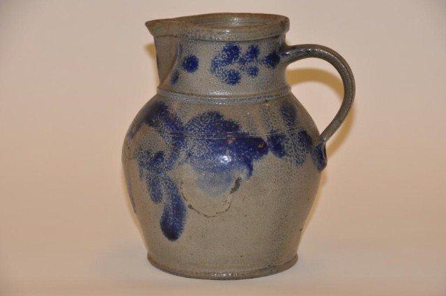 41: Stoneware cobalt blue decorated pitcher
