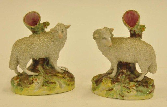 42: Pair of 19th century Staffordshire sand glazed fig