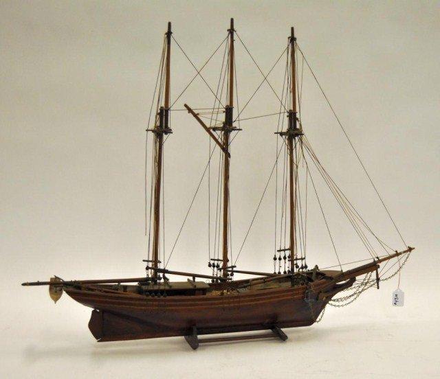43A: Mid 20th century pine three masted schooner model