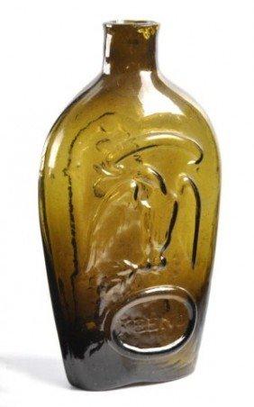 Keene Olive Green Eagle And Masonic Flask