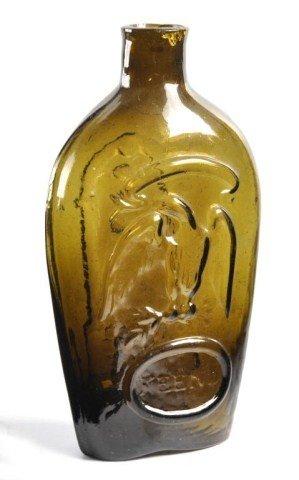 47: Keene olive green eagle and Masonic flask