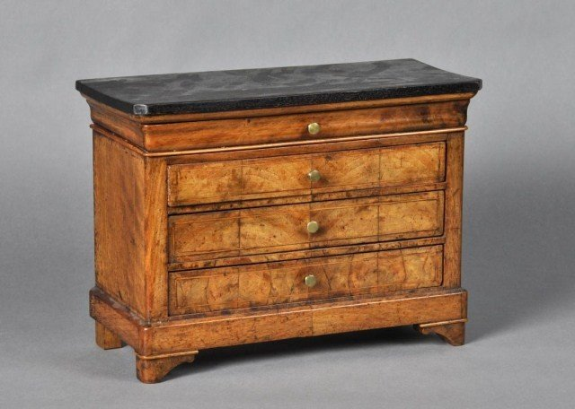 52: Louis Philippe miniature walnut chest of drawers