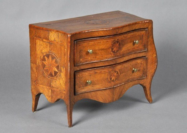54: Louis XV style miniature parquetry inlaid commode