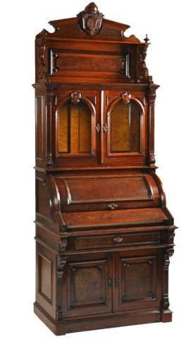 110: Fine quality Victorian Walnut cylinder secretary