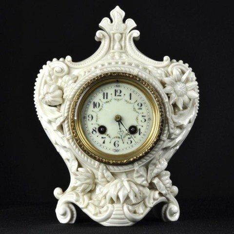 112: Royal Worcester blanc de chine porcelain clock