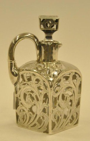 113: Silver overlay whiskey decanter