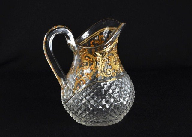 116: Bohemian gilt enameled pitcher with applied handle