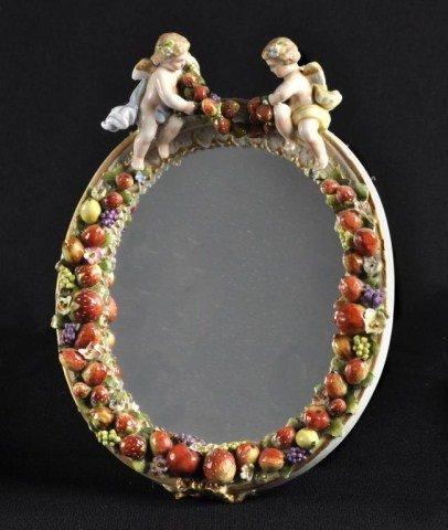 123: Dresden/Meissen oval mirror with putti