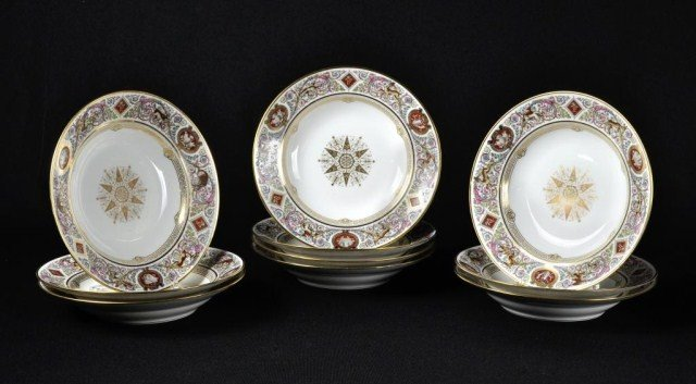 143: Set of ten Sevres bowls
