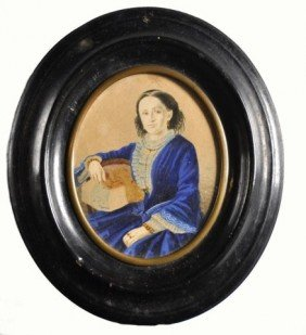 19th Century Miniature Oval Watercolor Of Lady