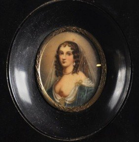Framed Ivory Portrait Miniature Of A Partially