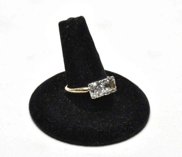 227: 14k Diamond ring set with 2 old mine cut diamonds