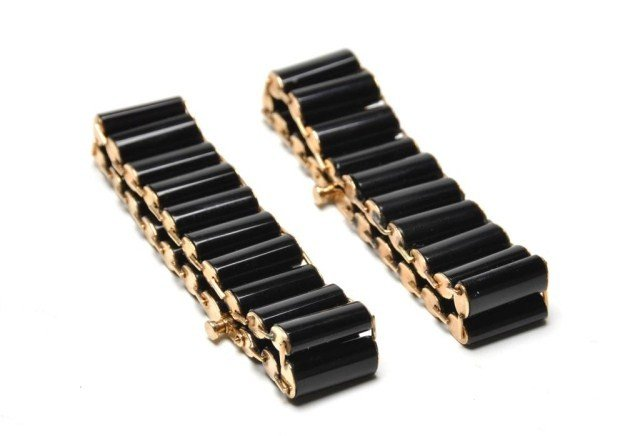 230: Pair of Victorian 14k gold & onyx bracelets