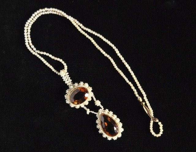 231: Antique citrine and seed pearl necklace, 14k gold