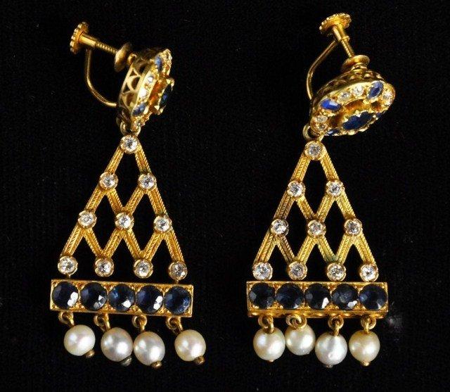 233: 14k gold sapphire, diamond & pearl earrings