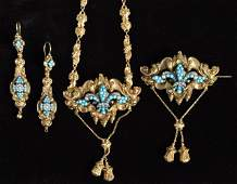 234 Early Victorian turquoise  pearl suite 14k gold