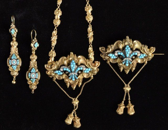 234: Early Victorian turquoise & pearl suite, 14k gold