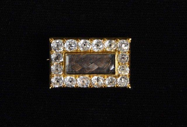 237: 14k Diamond and hair pin, 14k pin set with 16 old