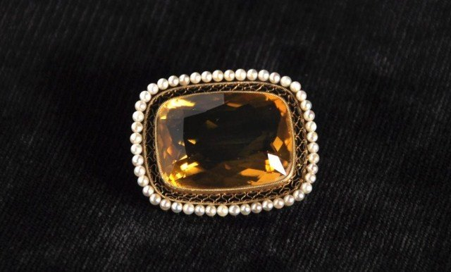239: Antique 14k citrine and pearl pin