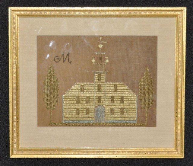 329: Early 19th century framed needlework of homestead