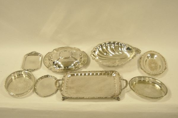 501: Lot of silver plated serving pieces