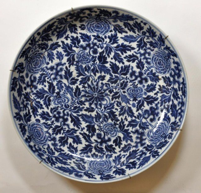 1: Chinese massive blue-and-white shallow bowl