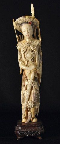 16: Chinese ivory carving of a female warrior
