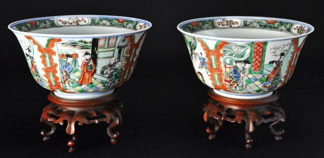 32: Pair of Chinese polychrome Famile Verte bowls