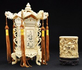 Two Chinese Bone Decorations