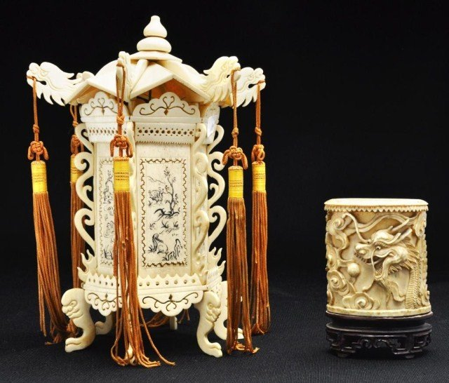 33: Two Chinese bone decorations