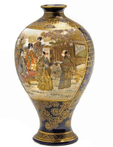 37: Very fine miniature Satsuma bulbous form Vase