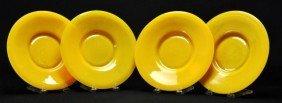 Set Of Four Chinese Peking Glass Yellow Plates