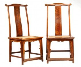Pair Of Chinese Late Qing, Probably Huanghuali Wood