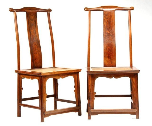 51: Pair of Chinese late Qing, probably huanghuali wood
