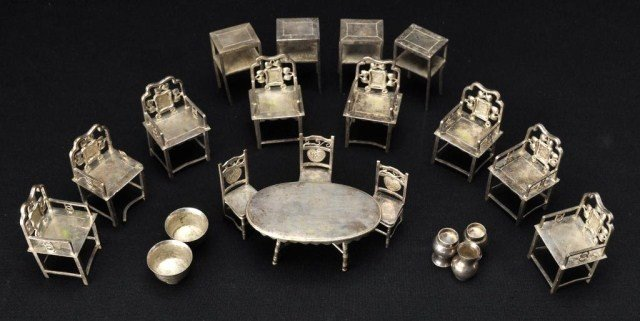 53: Group of Chinese miniature silver furniture models,