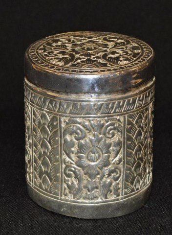 55: Hand chased silver canister, possibly Thai