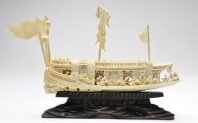 Early 20th Century Japanese Carved Ivory Boat