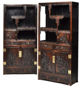 Pair Of Carved Chinese Late Qing Dynasty 19th Cent